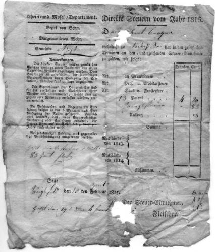 Direkte Steuern für Robert Berger, 1815 (Nizi_Steu_2)