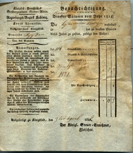 Brand Steuer für Heimann Berger, 1822 (Nizi_Steu_4)